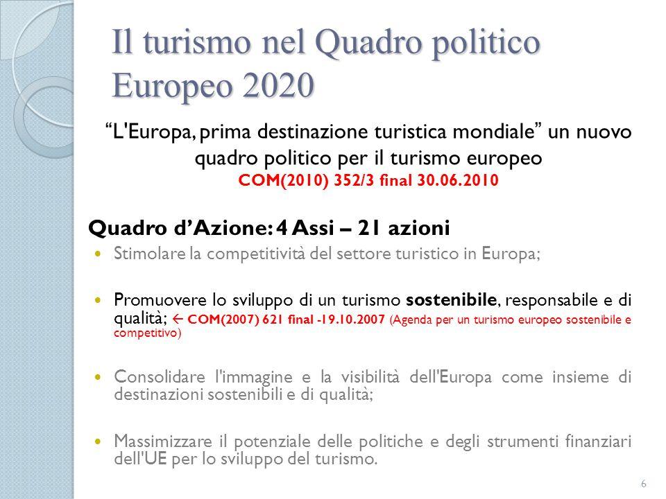 Il turismo nel Quadro politico Europeo 2020