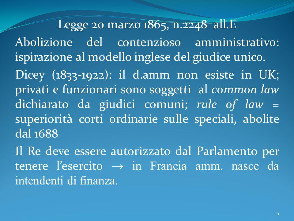 Legge 20 marzo 1865, n.2248 all.E Abolizione del contenzioso amministrativo: ispirazione al modello inglese del giudice unico.