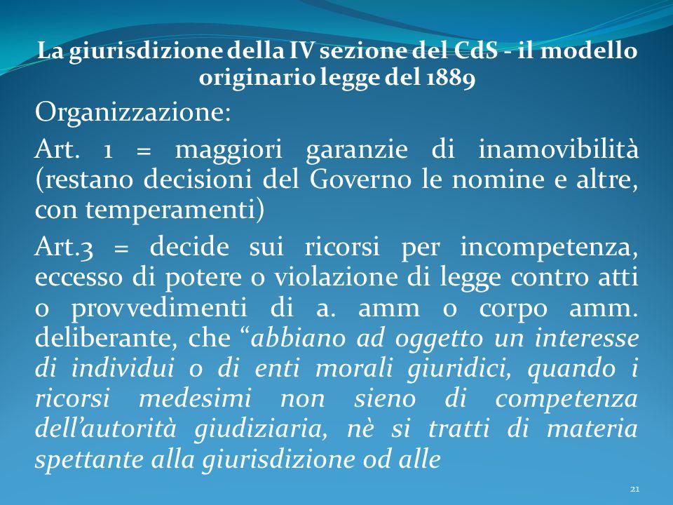 La giurisdizione della IV sezione del CdS - il modello originario legge del 1889