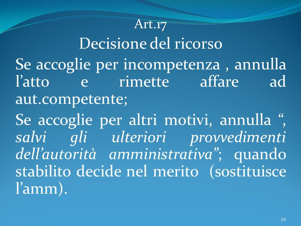 Art.17 Decisione del ricorso. Se accoglie per incompetenza , annulla l'atto e rimette affare ad aut.competente;