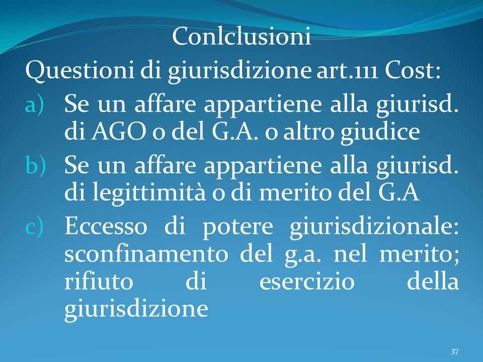 Conlclusioni Questioni di giurisdizione art.111 Cost: Se un affare appartiene alla giurisd. di AGO o del G.A. o altro giudice.