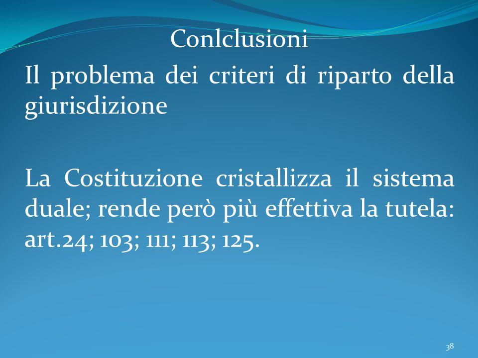 Conlclusioni Il problema dei criteri di riparto della giurisdizione.
