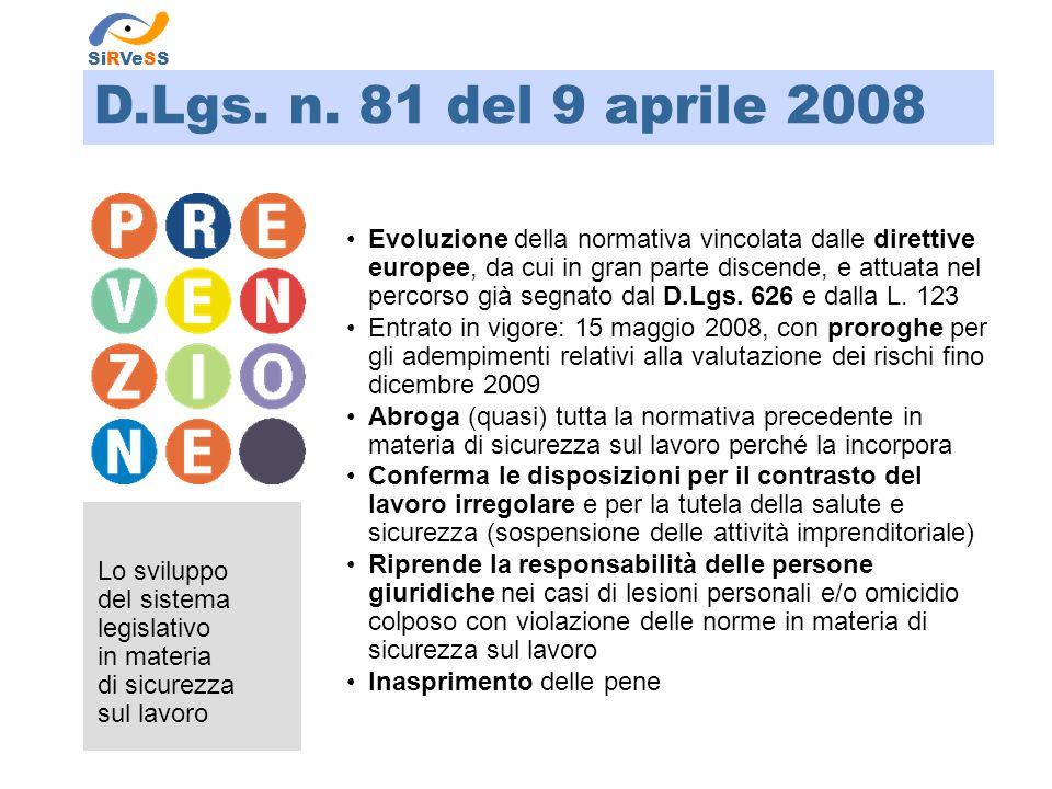 SiRVeSS D.Lgs. n. 81 del 9 aprile 2008.