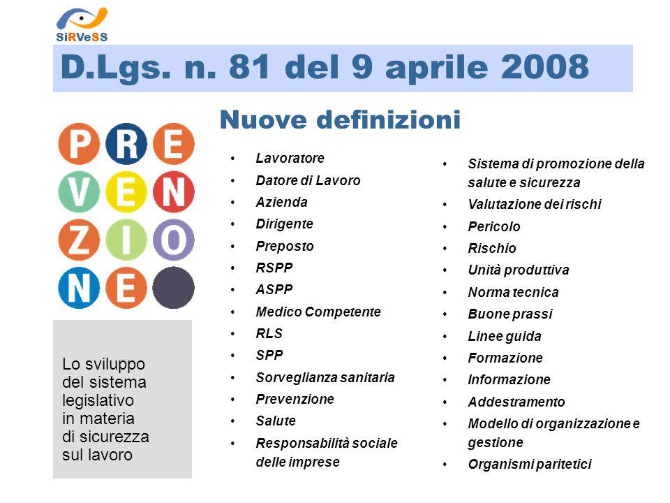 D.Lgs. n. 81 del 9 aprile 2008 Nuove definizioni Lo sviluppo