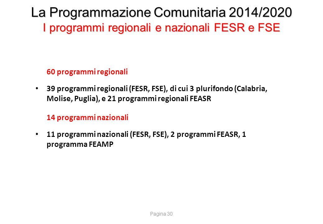 La Programmazione Comunitaria 2014/2020 I programmi nazionali FESR e FSE