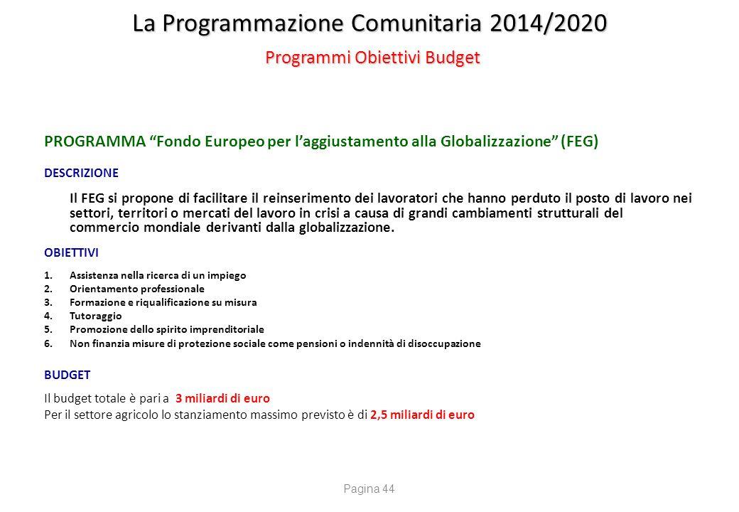 La Programmazione Comunitaria 2014/2020 Programmi Obiettivi Budget