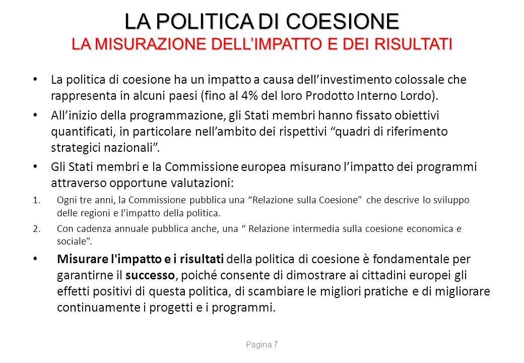 LA POLITICA DI COESIONE L'ACCORDO DI PARTENARIATO