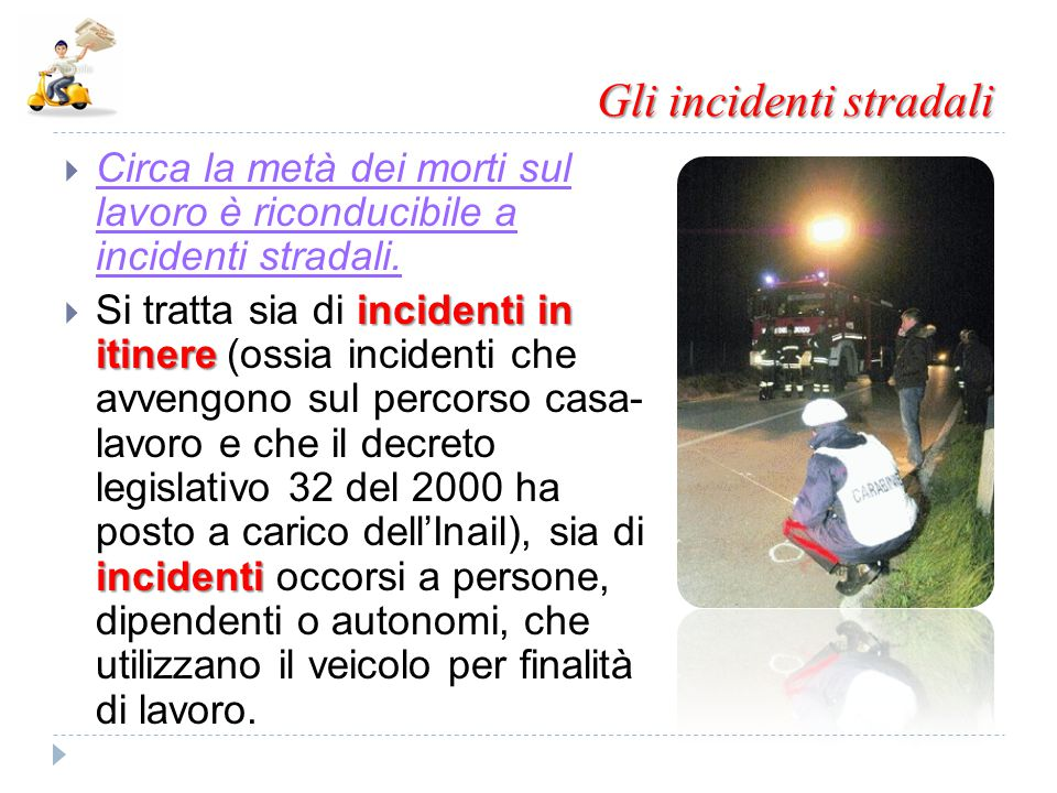Gli incidenti stradali