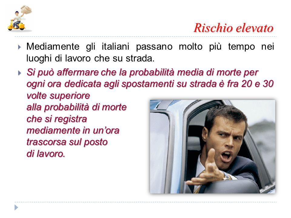 Rischio elevato Mediamente gli italiani passano molto più tempo nei luoghi di lavoro che su strada.