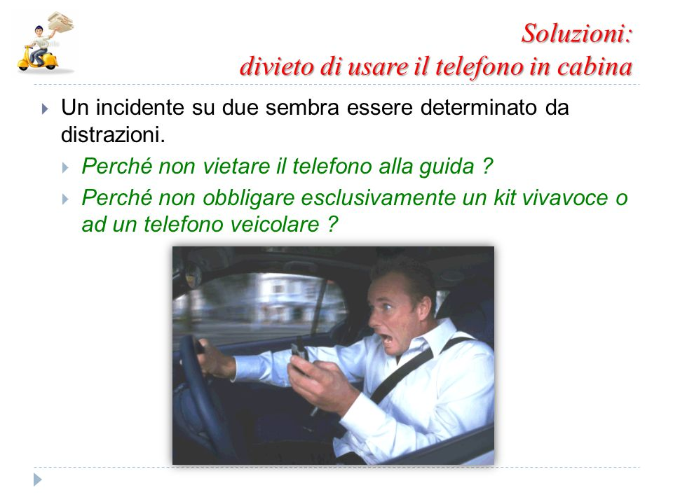 Soluzioni: divieto di usare il telefono in cabina