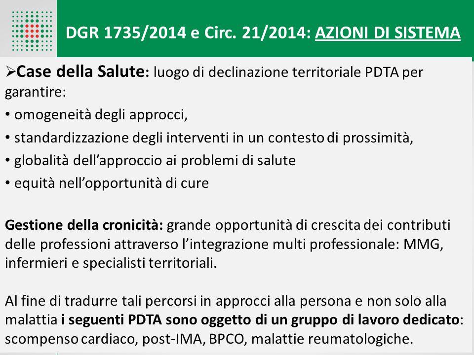 DGR 1735/2014 e Circ. 21/2014: AZIONI DI SISTEMA