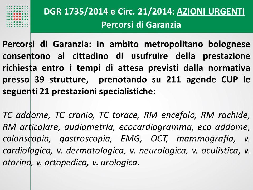 DGR 1735/2014 e Circ. 21/2014: AZIONI URGENTI