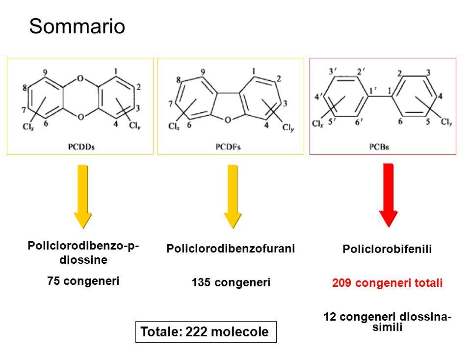 Sommario Totale: 222 molecole Policlorodibenzo-p-diossine
