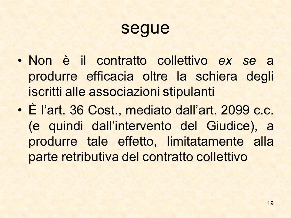 segue Non è il contratto collettivo ex se a produrre efficacia oltre la schiera degli iscritti alle associazioni stipulanti.