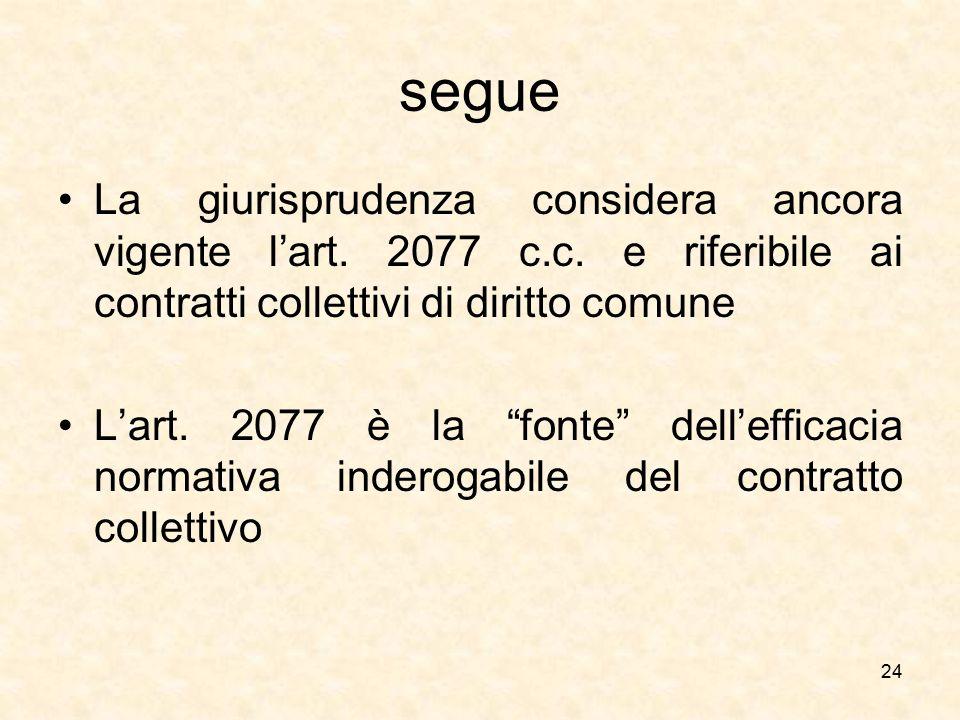 segue La giurisprudenza considera ancora vigente l'art. 2077 c.c. e riferibile ai contratti collettivi di diritto comune.