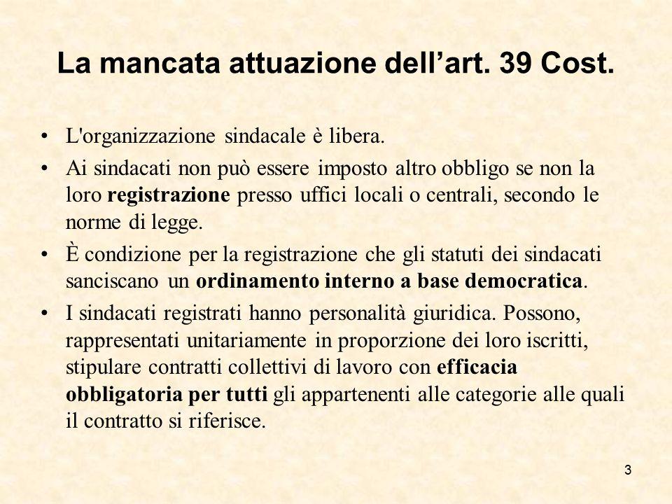 La mancata attuazione dell'art. 39 Cost.