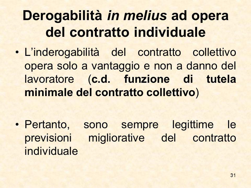 Derogabilità in melius ad opera del contratto individuale