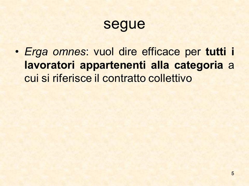 segue Erga omnes: vuol dire efficace per tutti i lavoratori appartenenti alla categoria a cui si riferisce il contratto collettivo.