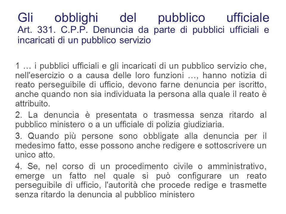 Gli obblighi del pubblico ufficiale Art. 331. C. P. P