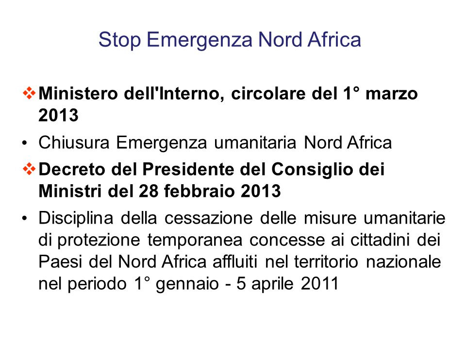 Stop Emergenza Nord Africa