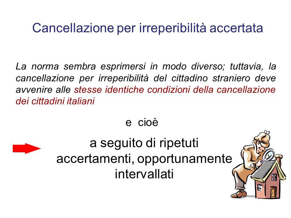 Cancellazione per irreperibilità accertata