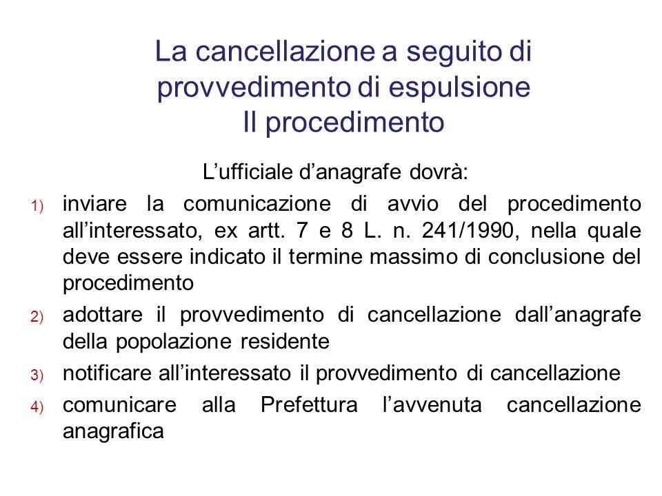 La cancellazione a seguito di provvedimento di espulsione