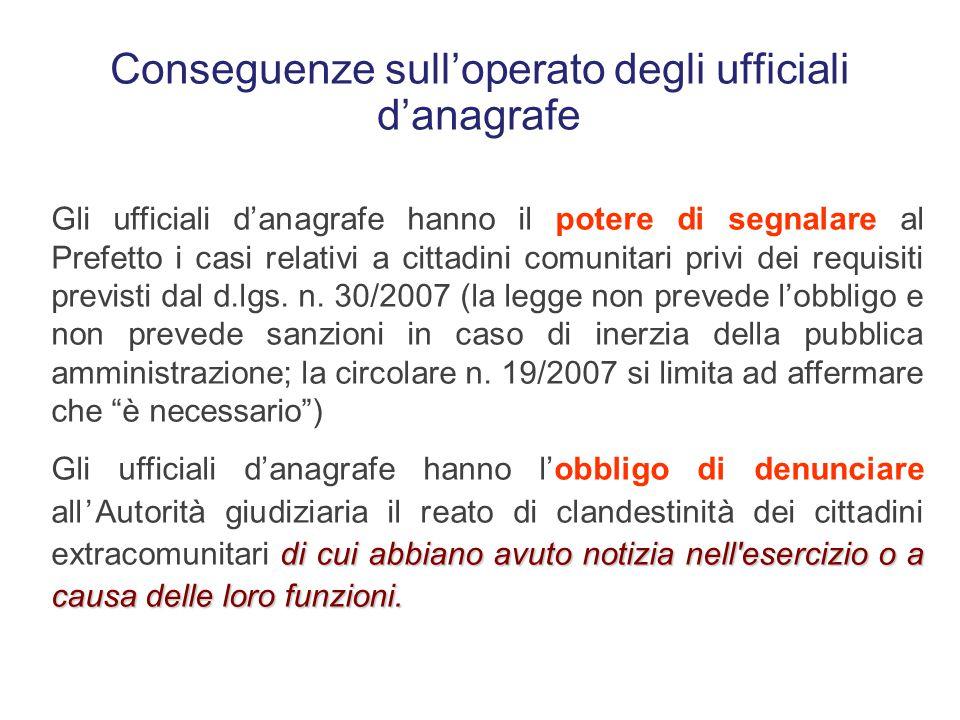 Conseguenze sull'operato degli ufficiali d'anagrafe