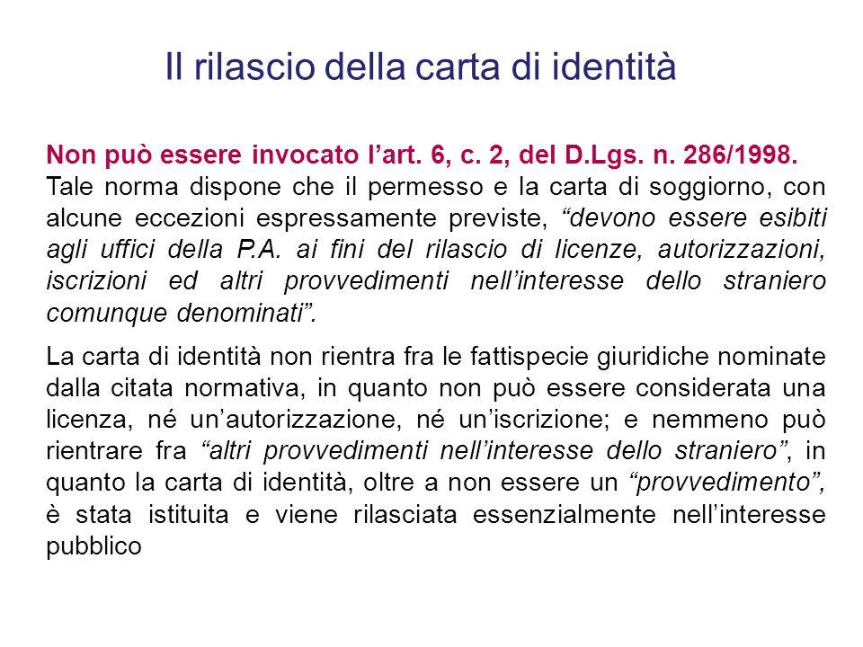 Il rilascio della carta di identità