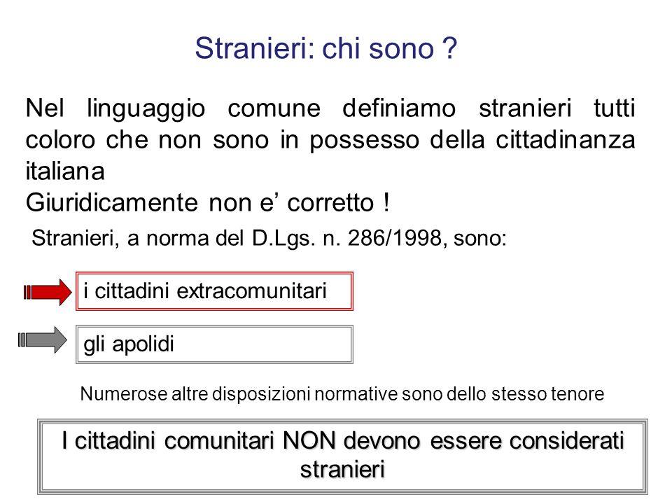 Stranieri: chi sono Nel linguaggio comune definiamo stranieri tutti coloro che non sono in possesso della cittadinanza italiana.