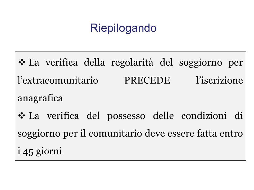 Riepilogando La verifica della regolarità del soggiorno per l'extracomunitario PRECEDE l'iscrizione anagrafica.