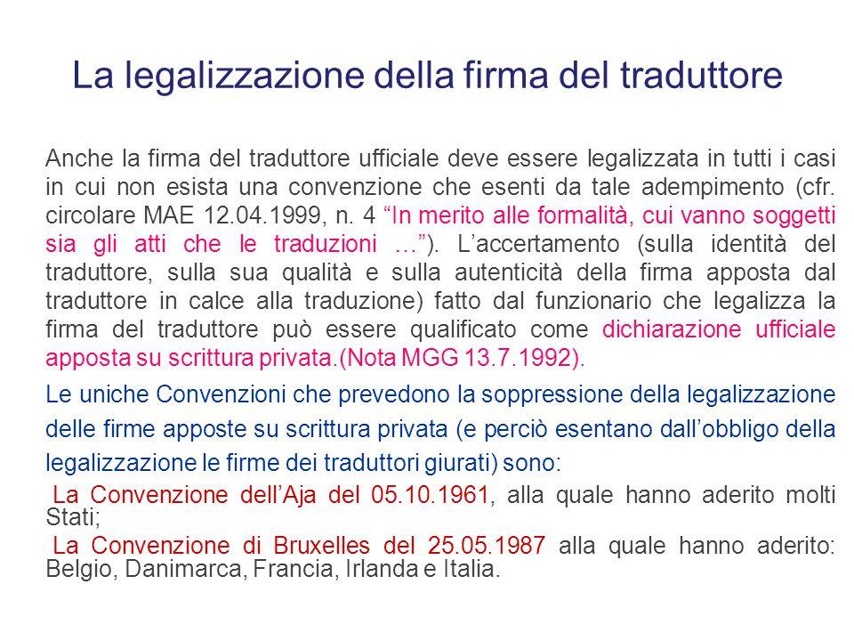 La legalizzazione della firma del traduttore