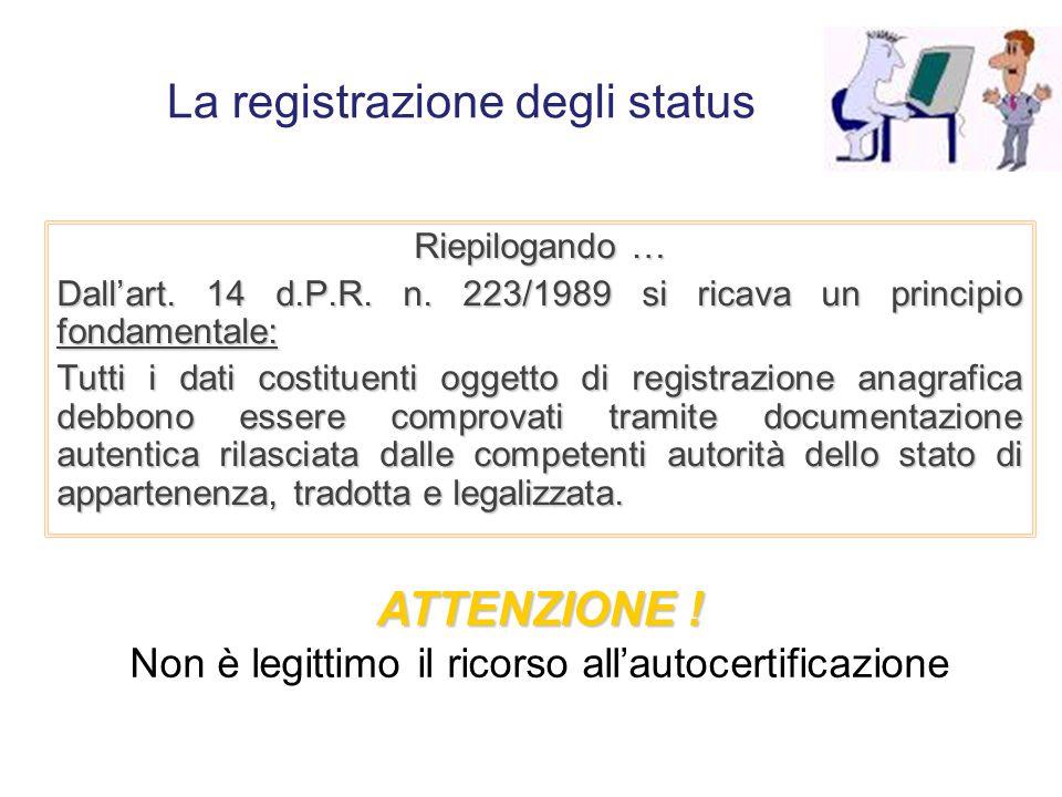 La registrazione degli status