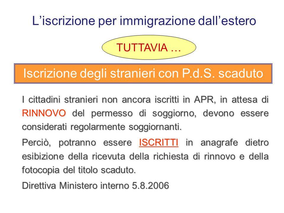 L'iscrizione per immigrazione dall'estero