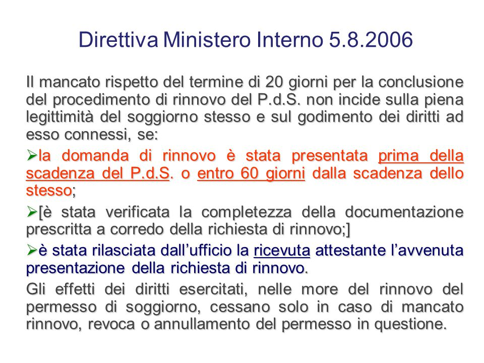 Direttiva Ministero Interno 5.8.2006