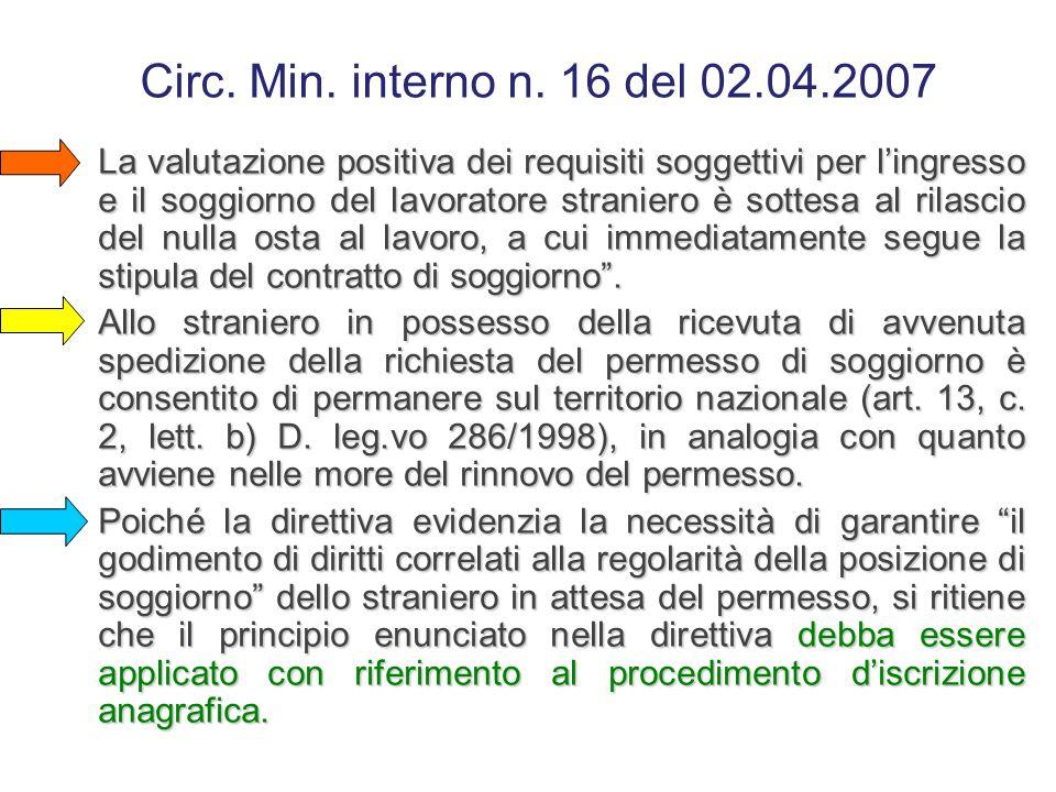 Circ. Min. interno n. 16 del 02.04.2007