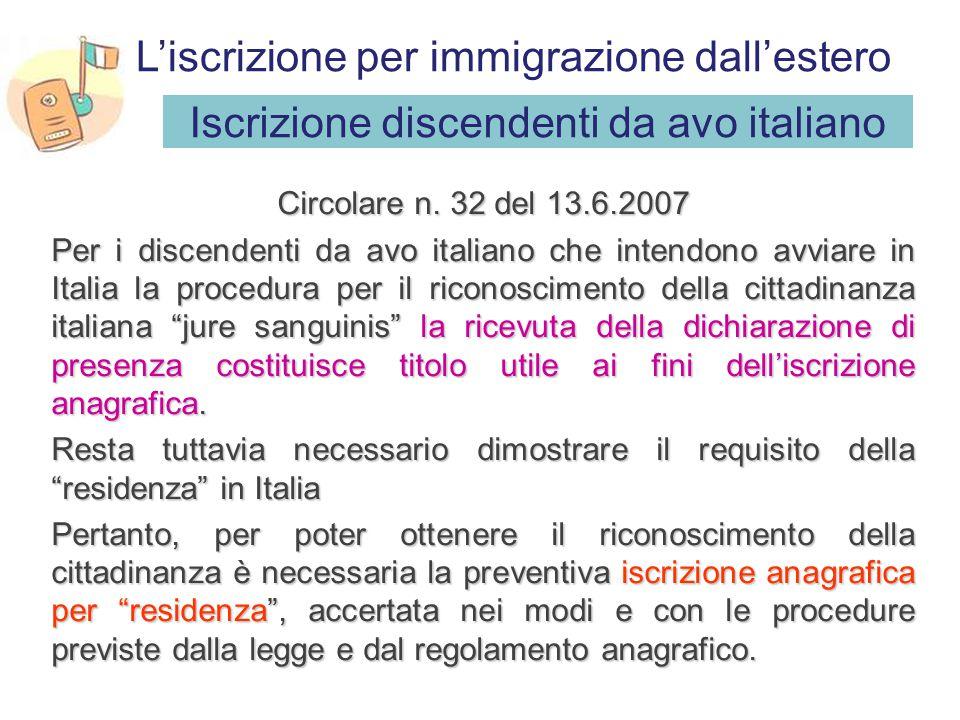 Iscrizione discendenti da avo italiano