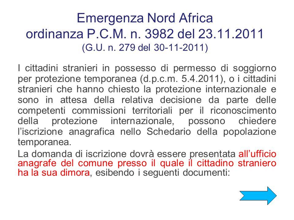 Emergenza Nord Africa ordinanza P.C.M. n. 3982 del 23.11.2011 (G.U. n. 279 del 30-11-2011)