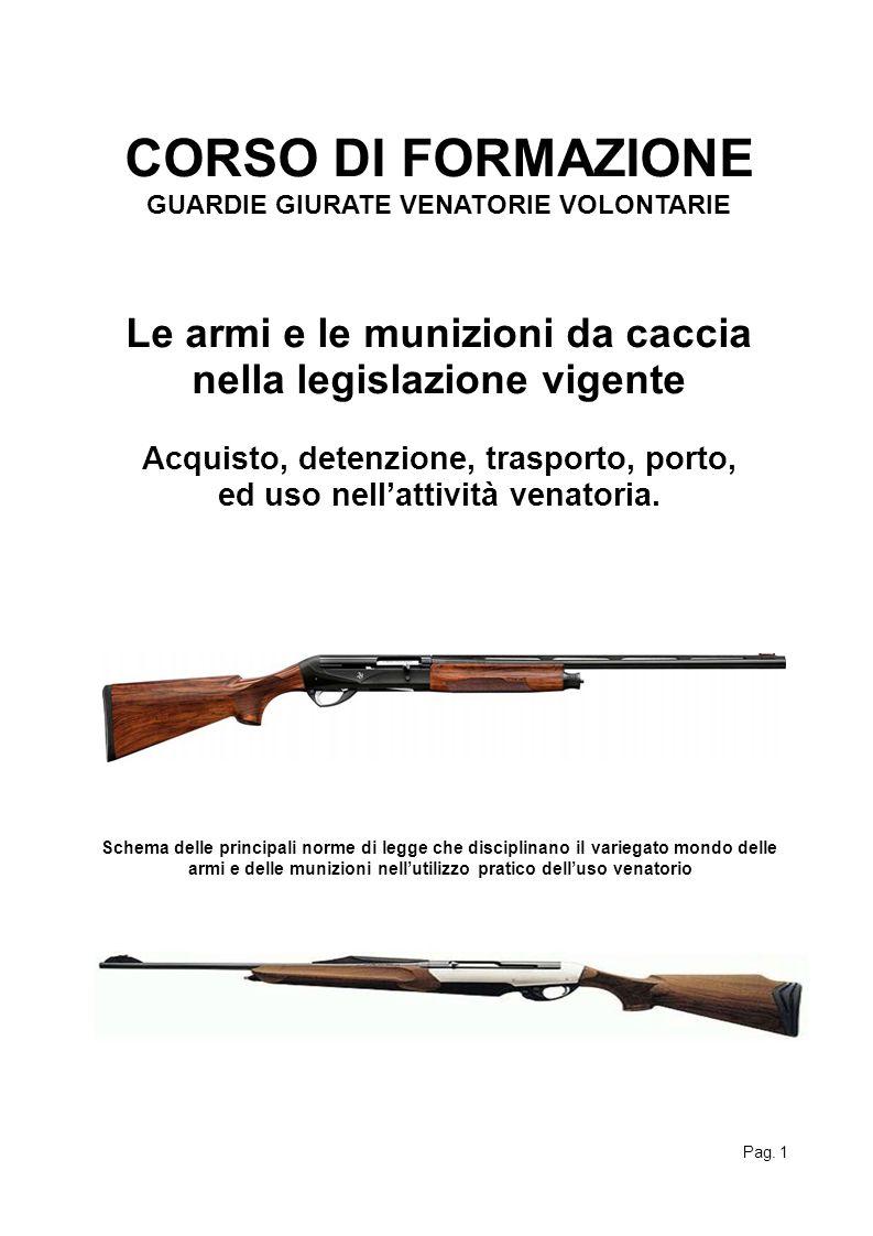 CORSO DI FORMAZIONE GUARDIE GIURATE VENATORIE VOLONTARIE. Le armi e le munizioni da caccia nella legislazione vigente.