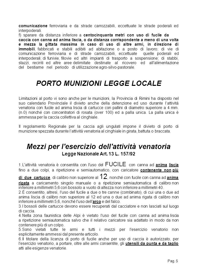 PORTO MUNIZIONI LEGGE LOCALE