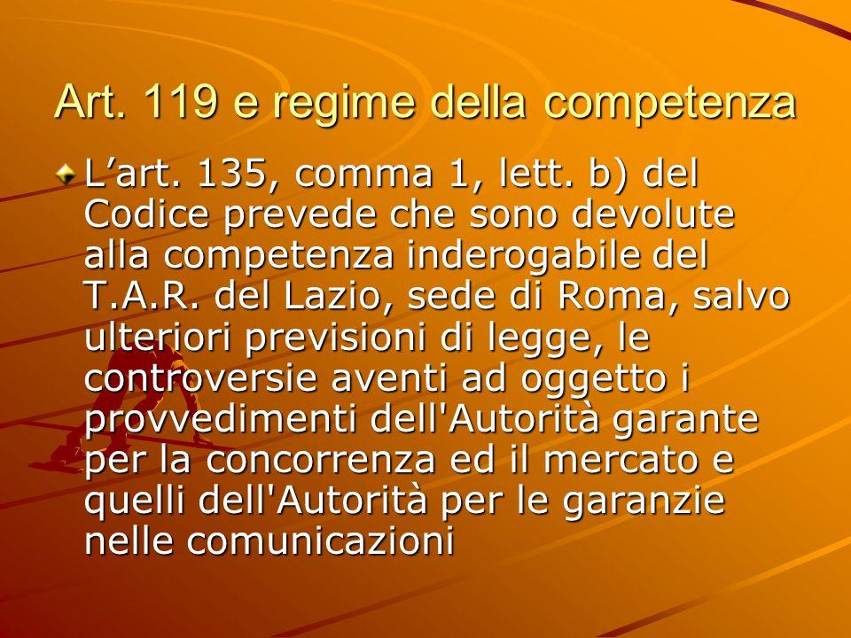 Art. 119 e regime della competenza