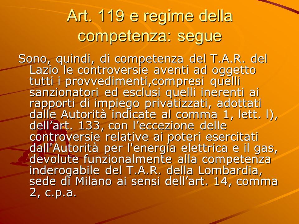 Art. 119 e regime della competenza: segue