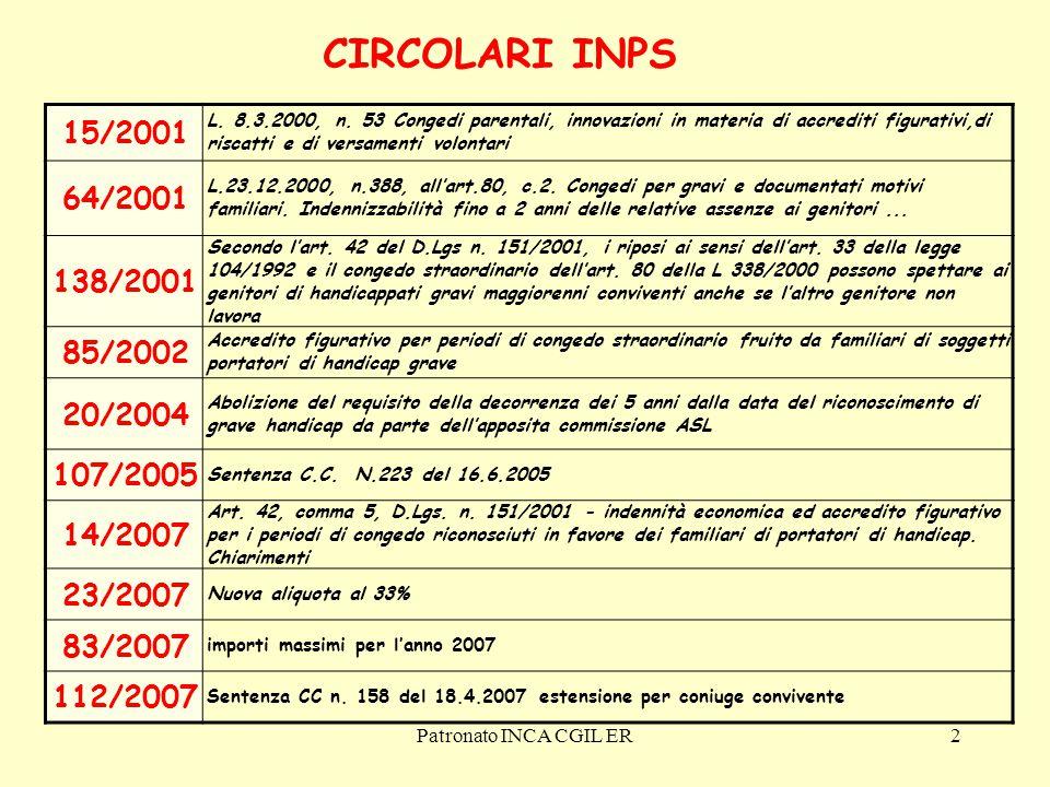 CIRCOLARI INPS 15/2001. L. 8.3.2000, n. 53 Congedi parentali, innovazioni in materia di accrediti figurativi,di riscatti e di versamenti volontari.