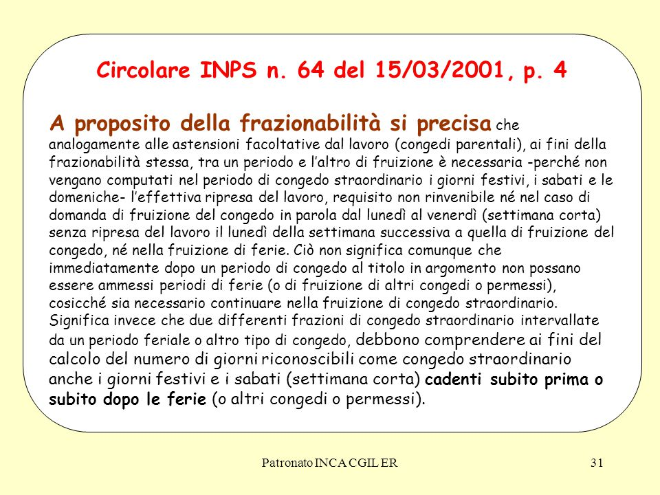 Circolare INPS n. 64 del 15/03/2001, p. 4