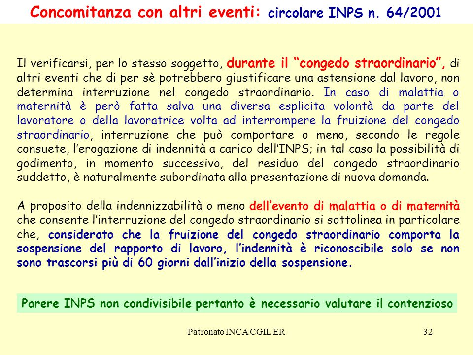 Concomitanza con altri eventi: circolare INPS n. 64/2001