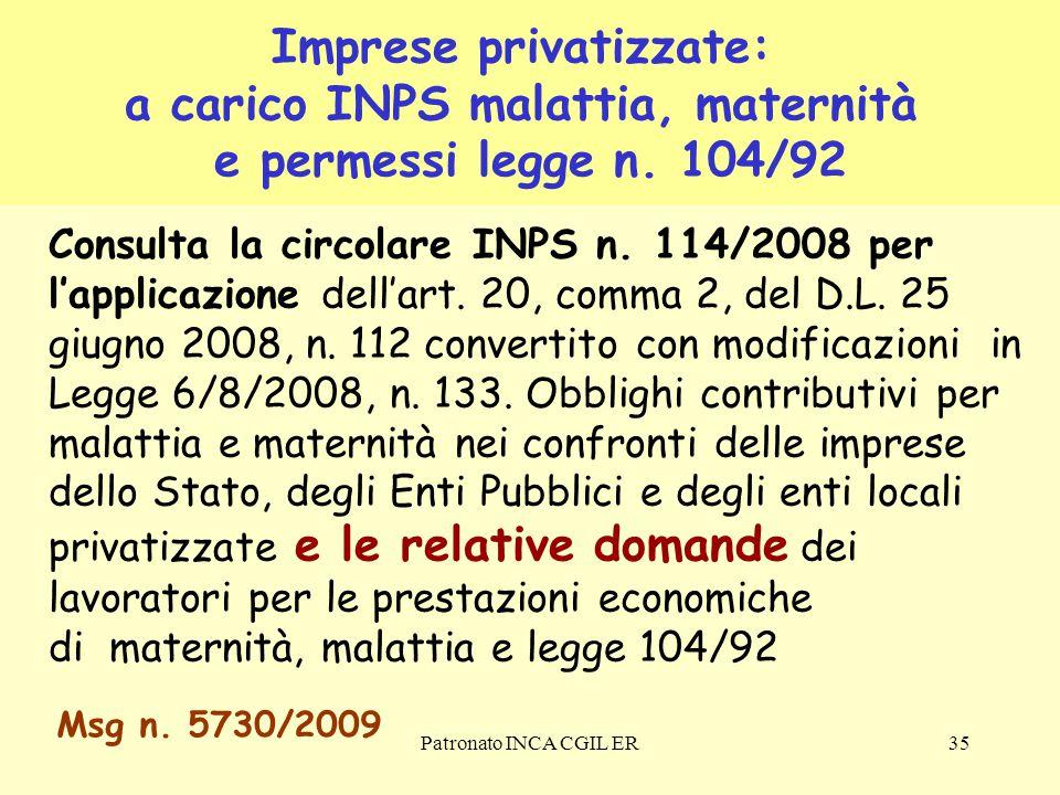Imprese privatizzate: a carico INPS malattia, maternità