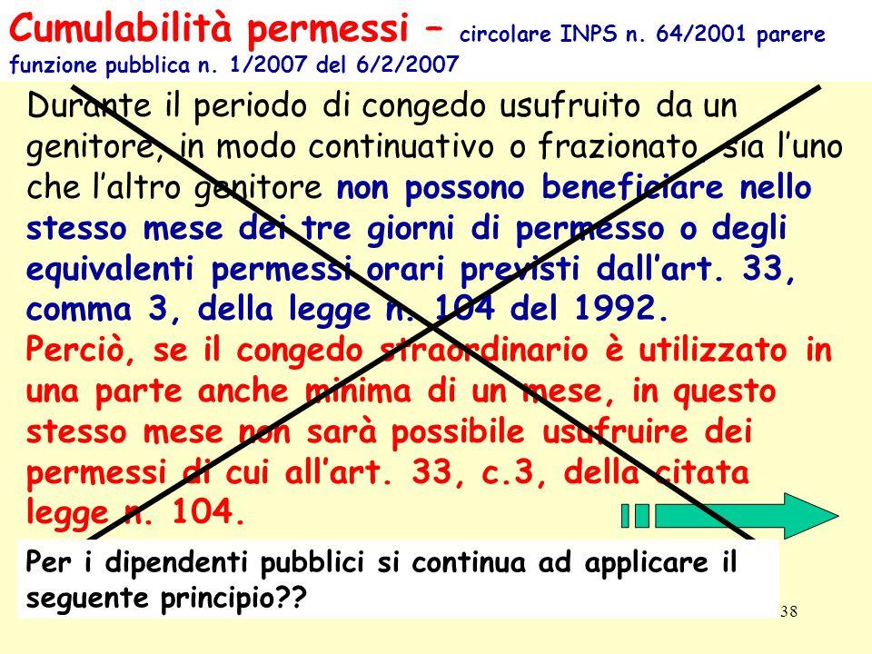 Cumulabilità permessi – circolare INPS n