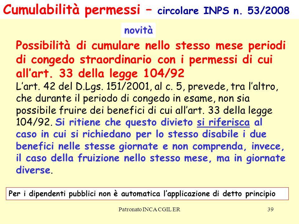 Cumulabilità permessi – circolare INPS n. 53/2008