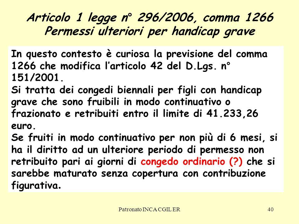 Articolo 1 legge n° 296/2006, comma 1266