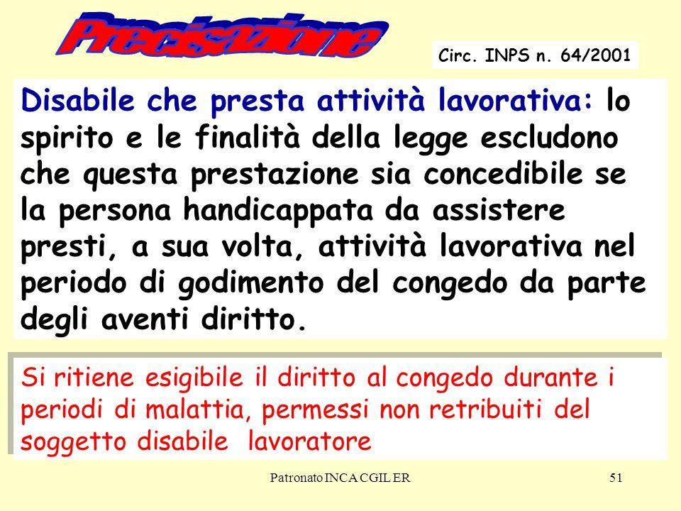 Precisazione Circ. INPS n. 64/2001.