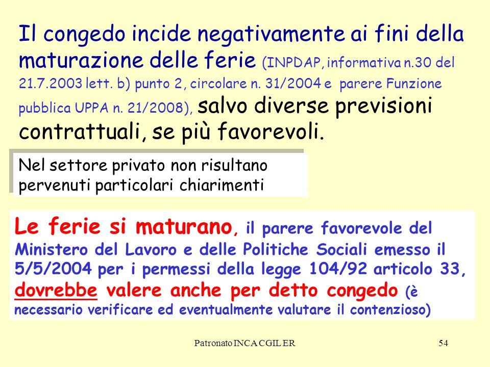 Il congedo incide negativamente ai fini della maturazione delle ferie (INPDAP, informativa n.30 del 21.7.2003 lett. b) punto 2, circolare n. 31/2004 e parere Funzione pubblica UPPA n. 21/2008), salvo diverse previsioni contrattuali, se più favorevoli.